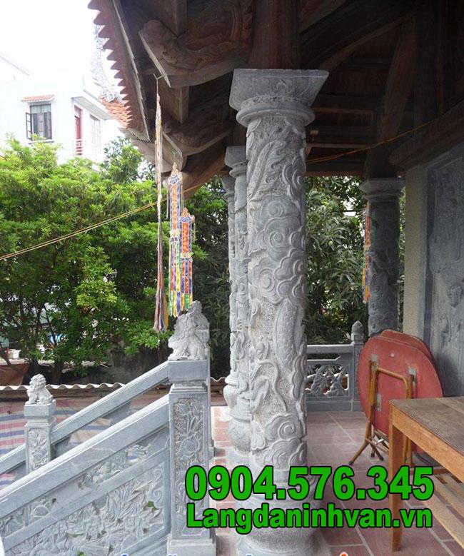Cột đá xanh tự nhiên đẹp chạm khắc rồng giá rẻ