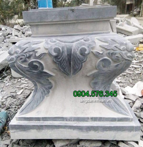 Mẫu chân cột đá vuông, đá kê chân cột nhà gỗ