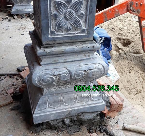 Mẫu chân cột đá vuông, tảng đá kê chân cột gỗ, đá kê cột gỗ