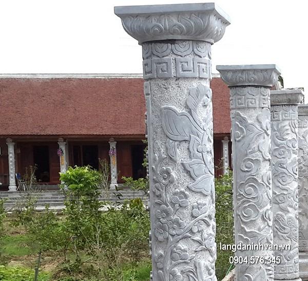 Cột đá xanh tự nhiên đẹp chạm khắc rồng giá tốt