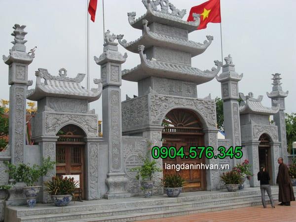 Mẫu cổng đền chùa đẹp nhất được làm từ đá xanh tự nhiên