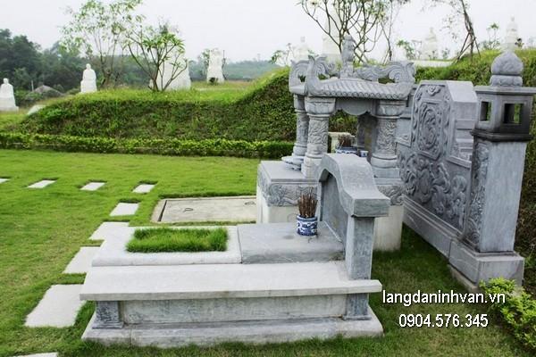 Mộ đá bành xanh đẹp giá rẻ thiết kế đơn giản
