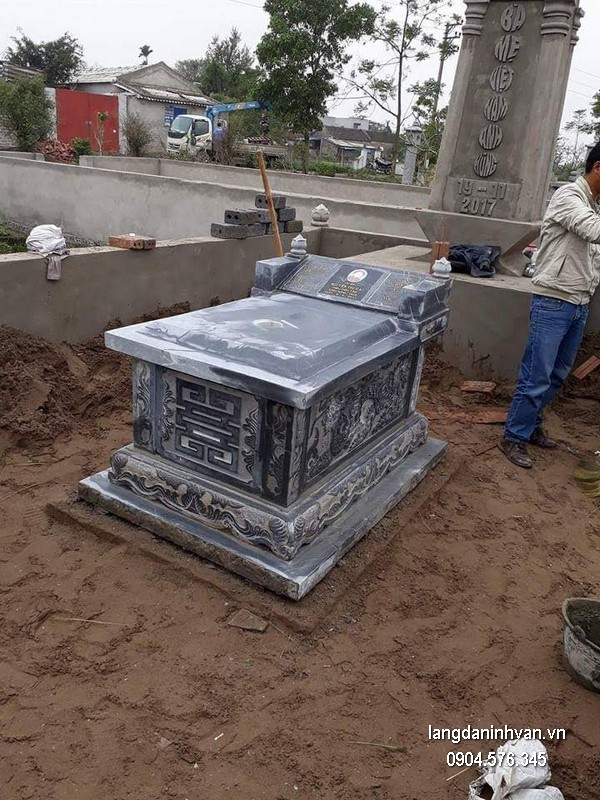 Mẫu mộ đá xanh khối đẹp nhất giá rẻ thiết kế đơn giản