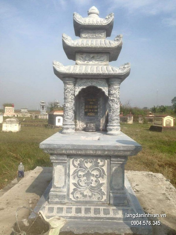 Mẫu mộ đá ba mái đẹp nhất giá tốt thiết kế đơn giản