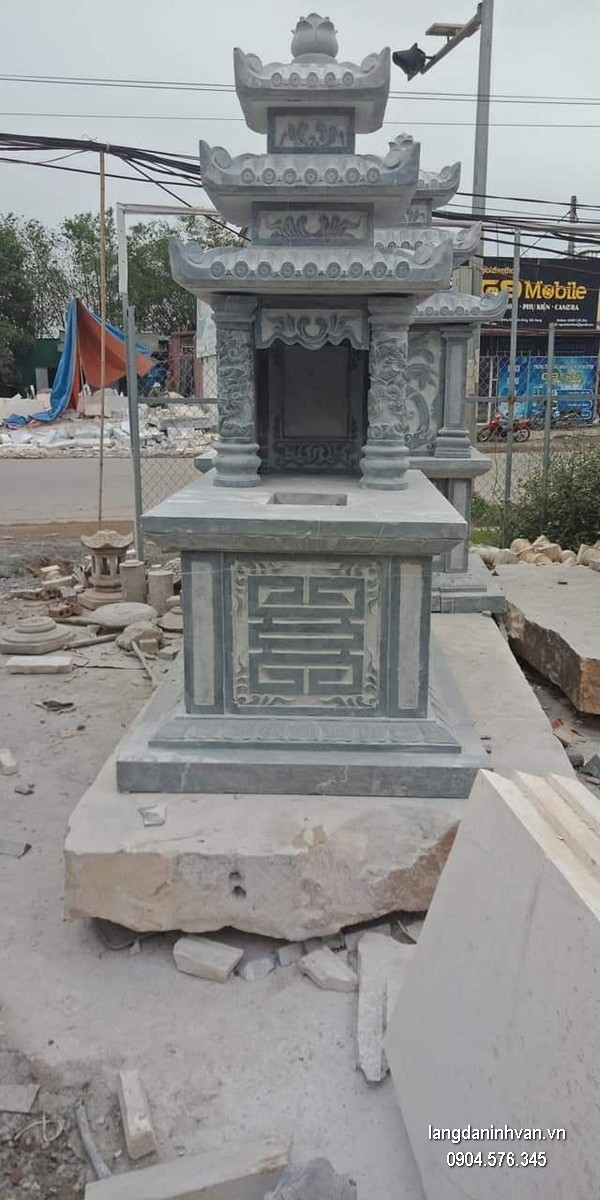 Mẫu mộ đá ba mái khối đẹp giá rẻ thiết kế đơn giản