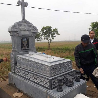 Mẫu mộ đá công giáo khối đẹp giá hợp lý thiết kế đơn giản