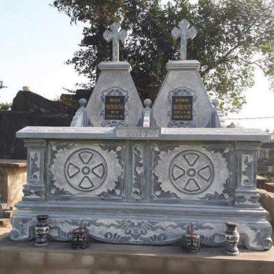 Mẫu mộ đá công giáo khối chất lượng tốt giá rẻ thiết kế hiện đại