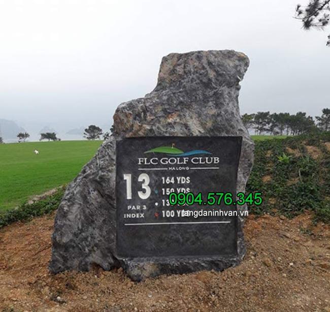 Bia đá để cổng công ty đẹp đá xanh tự nhiên nguyên khối