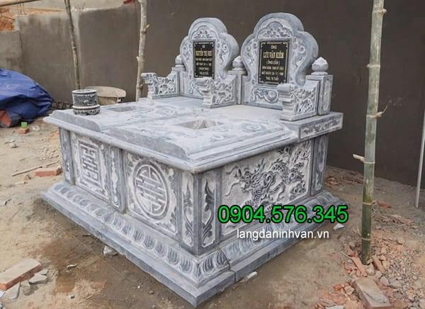 Hình ảnh mẫu mộ đá đôi Ninh Bình đẹp chuẩn phong thủy