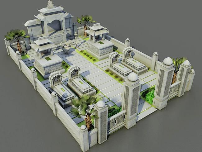 Bản vẽ thiết kế khu lăng mộ đá đẹp
