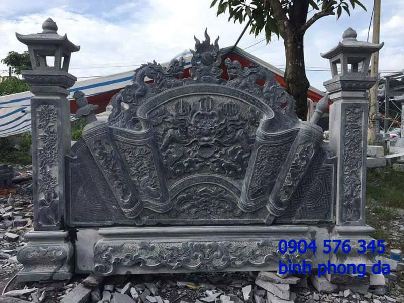 mẫu tắc môn cuốn thư, bình phong đá đẹp - 012