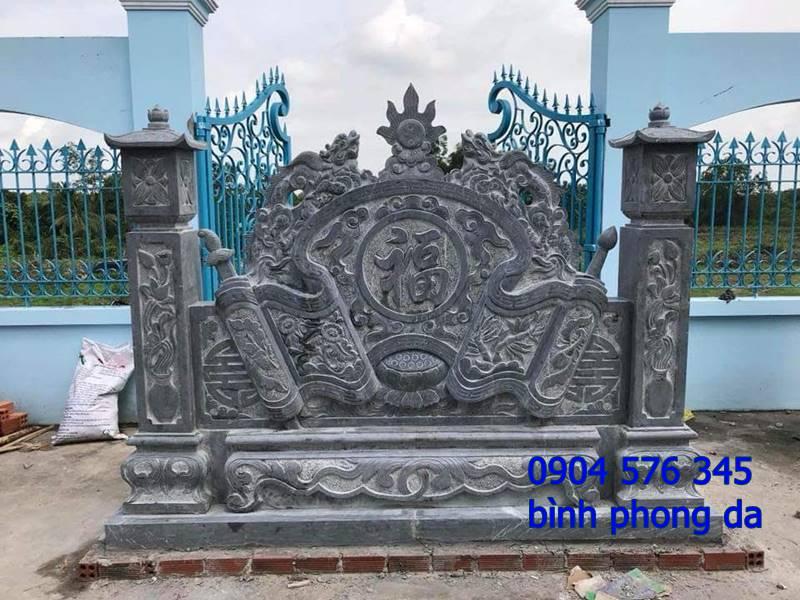 mẫu tắc môn cuốn thư, bình phong đá đẹp được đặt tại cổng nhà thờ họ - 013
