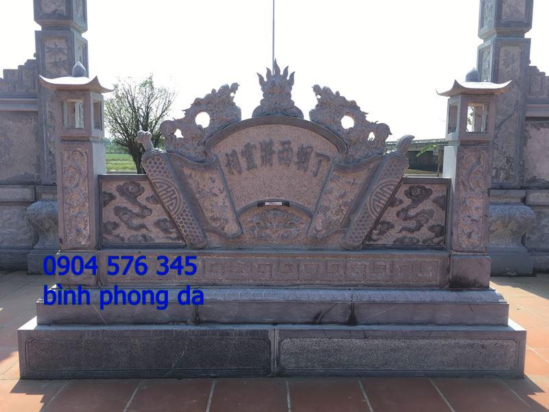 mẫu tắc môn cuốn thư, bình phong đá đẹp được lắp đặt tại cổng đình - 025