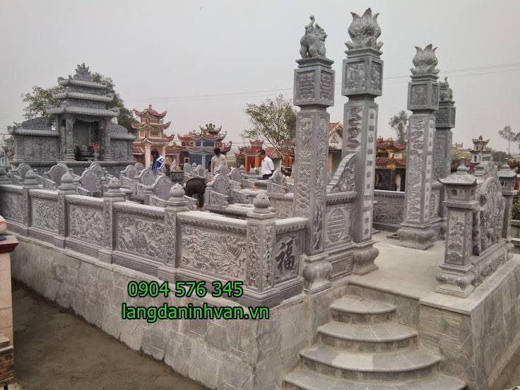 Hình ảnh khu lăng mộ gia đình dòng họ bằng đá đẹp tại Long An