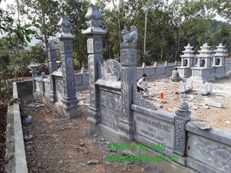 lắp đặt khu lăng mộ dòng họ bằng đá xanh tại trà vinh