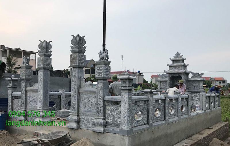 Lắp đặt khu lăng mộ gia đình bằng đá xanh tại Thanh Miện Hải Dương