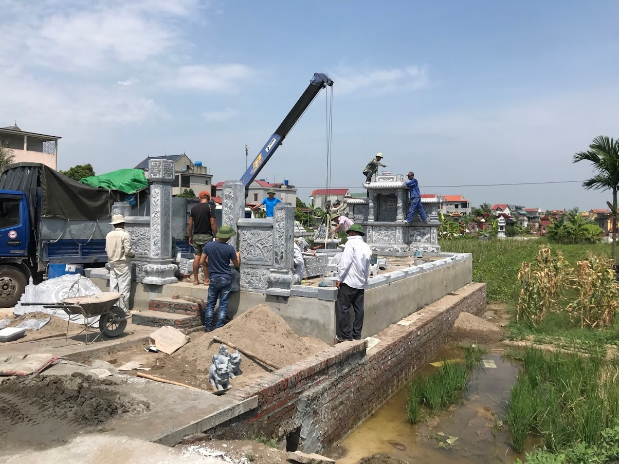 khu lăng mộ đá đẹp giá re được lắp tại hải dương