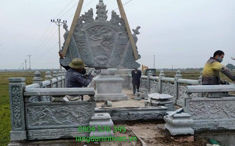 lắp đặt khu lăng mộ bằng đá xanh