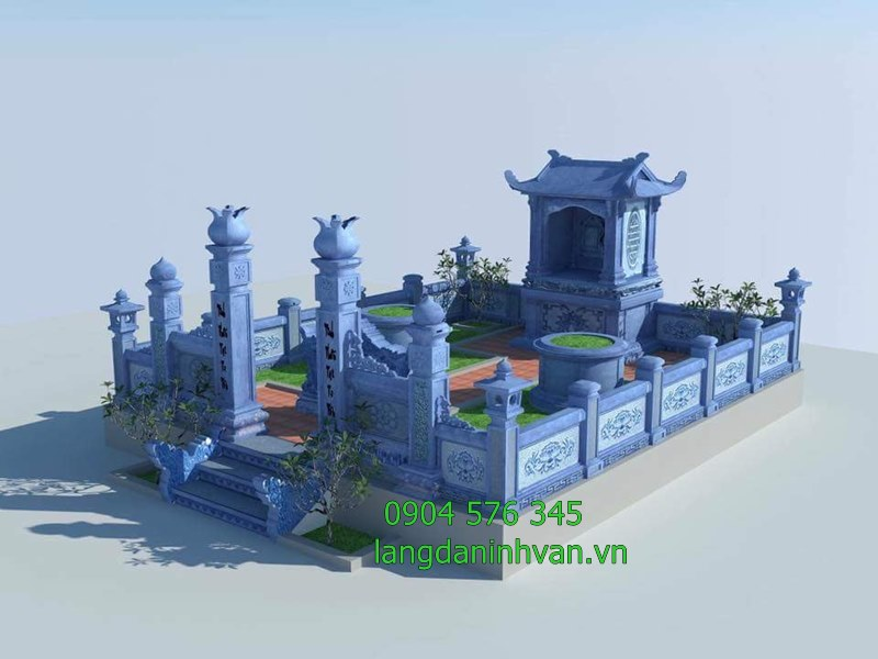 mẫu thiết kế khu lăng mộ gia đình bằng đá đẹp đơn giản hiện đại