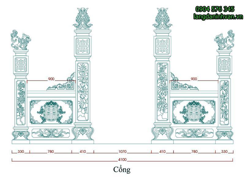 mẫu thiết kế cổng đá tam quan đẹp