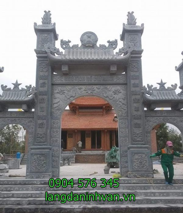 lắp đặt cổng chùa bằng đá xanh tự nhiên tại phú thọ