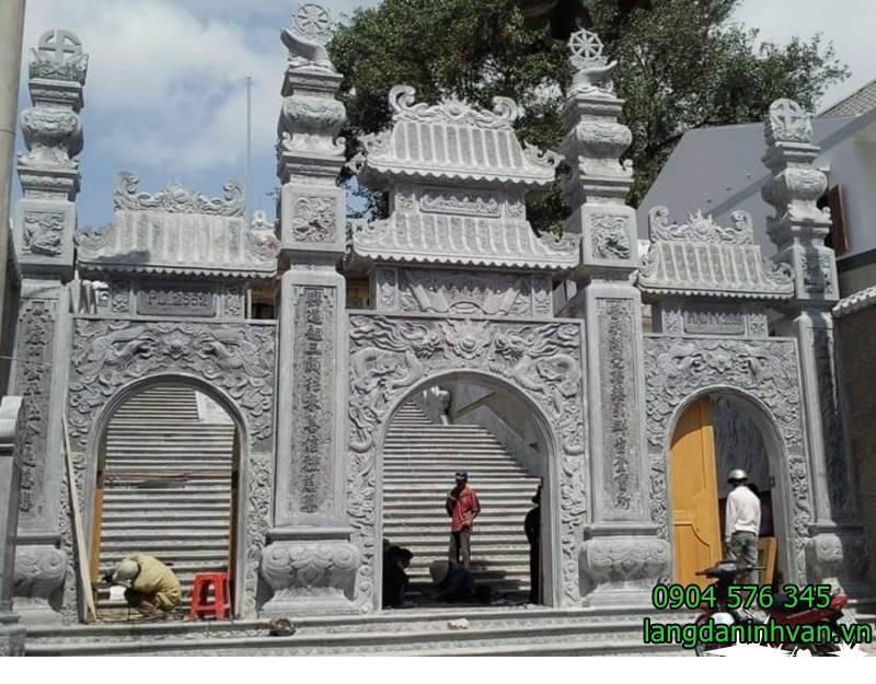 Lắp đặt cổng tam quan bằng đá cho chùa, nhà thờ họ tại hà nội