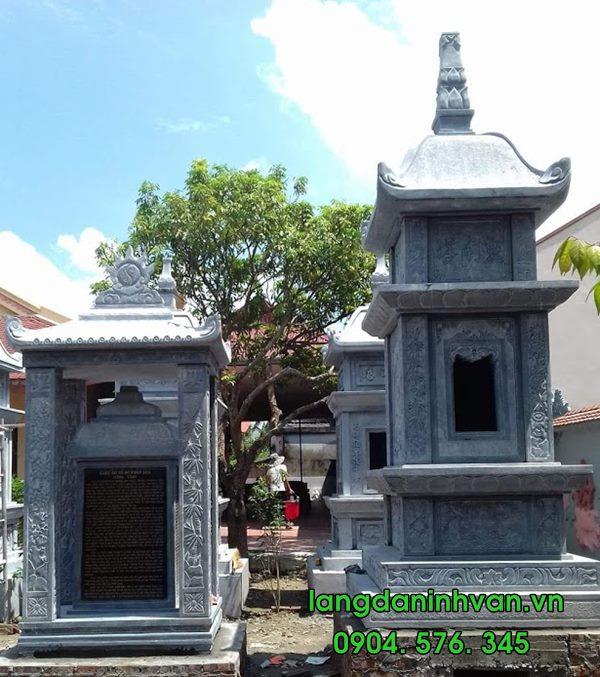 Mẫu mộ tháp bằng đá đẹp đựng tro cốt 03