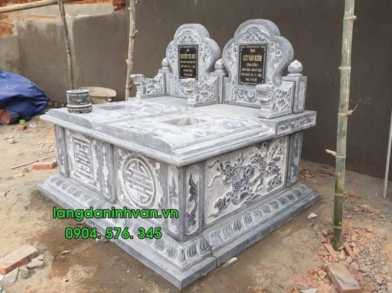 Mẫu mộ đôi bằng đá tự nhiên đẹp 014