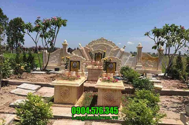 Mẫu mộ đôi bằng đá vàng