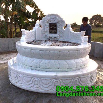 Mẫu mộ tròn bằng đá trắng đẹp nhất 2020