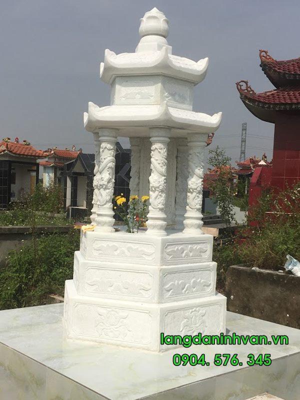 lắp đặt Mộ tháp Mộ lục giác bằng đá trắng tại Phù Cừ - Hưng Yên