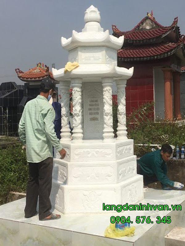 mộ tháp bằng đá trắng đẹp