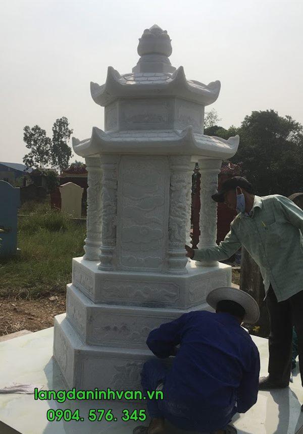 mộ tháp lục giác bằng đá trắng đẹp