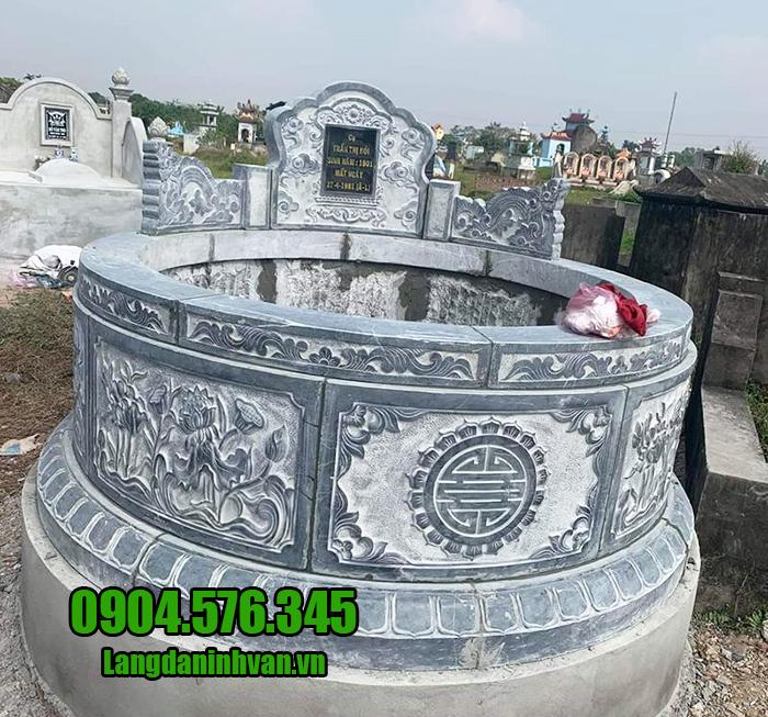 Mẫu mộ đá tròn chuẩn phong thủy