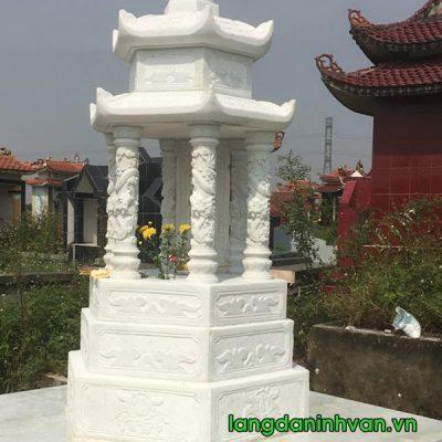 mộ tháp lục giác bằng đá trắng đẹp 022