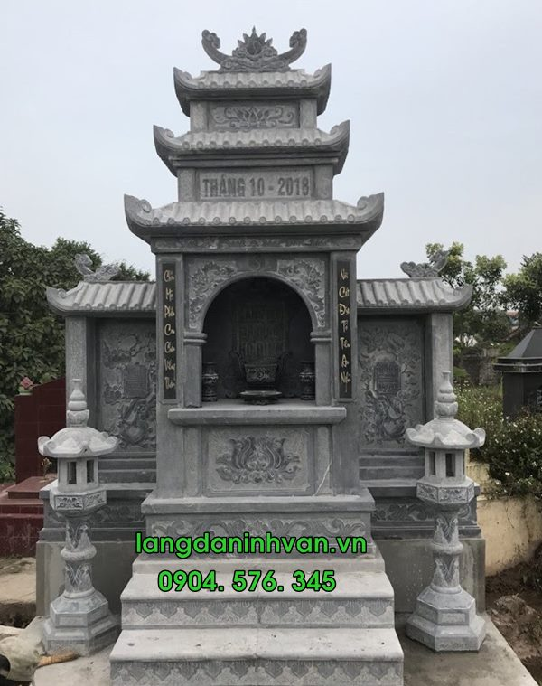 mẫu lăng thờ đơn giản bằng đá xanh nguyên khối