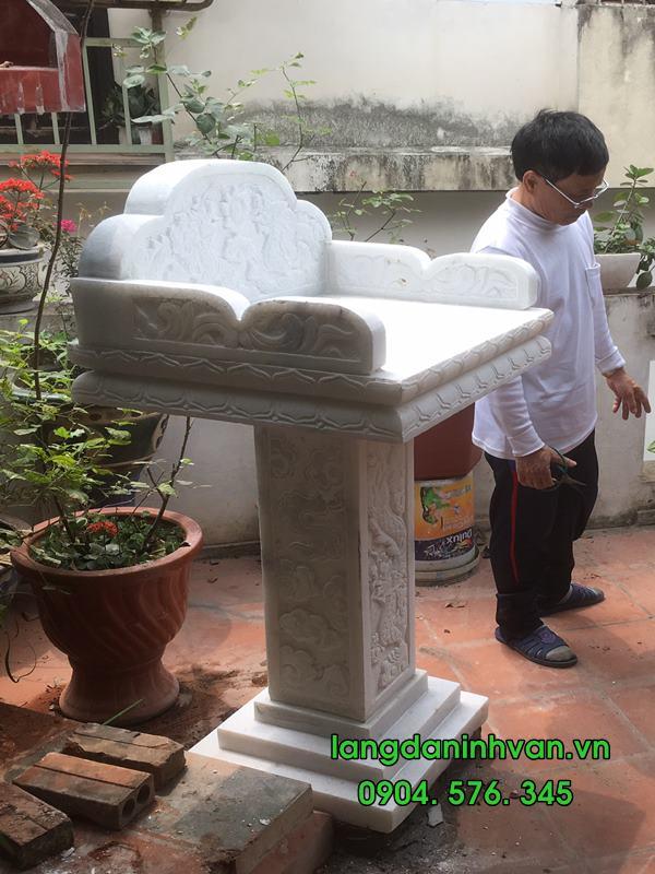 bàn thơ thiên bằng đá trắng tự nhiên