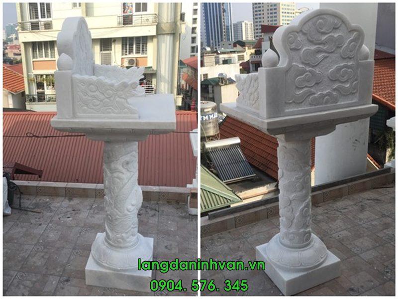 Lắp đặt mẫu bàn thờ thiên không mái đẹp bằng đá trắng tại Hà Nội