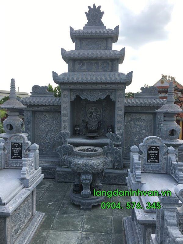 Mẫu khu lăng mộ đá đẹp hiện đại bằng đá xanh tự nhiên