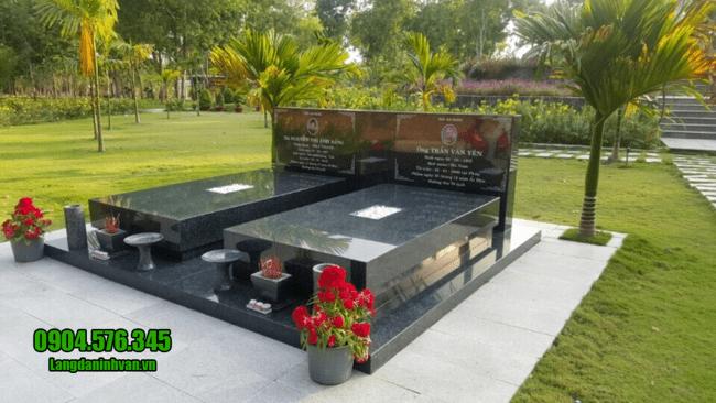 Mẫu mộ đôi đá hoa cương đẹp