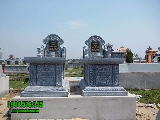 mẫu mộ đôi bằng đá xanh