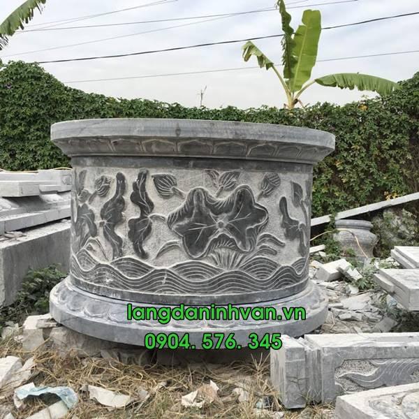 mộ đá tròn bằng đá xanh tự nhiên đẹp