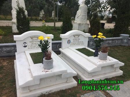 mẫu mộ đôi bằng đá trắng