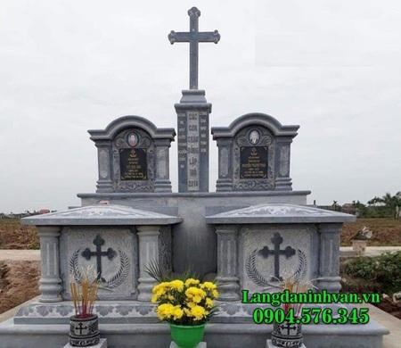 mẫu mộ đôi công giáo bằng đá